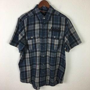 Harley Davidson Blue Plaid Embroidered Men's Shirt